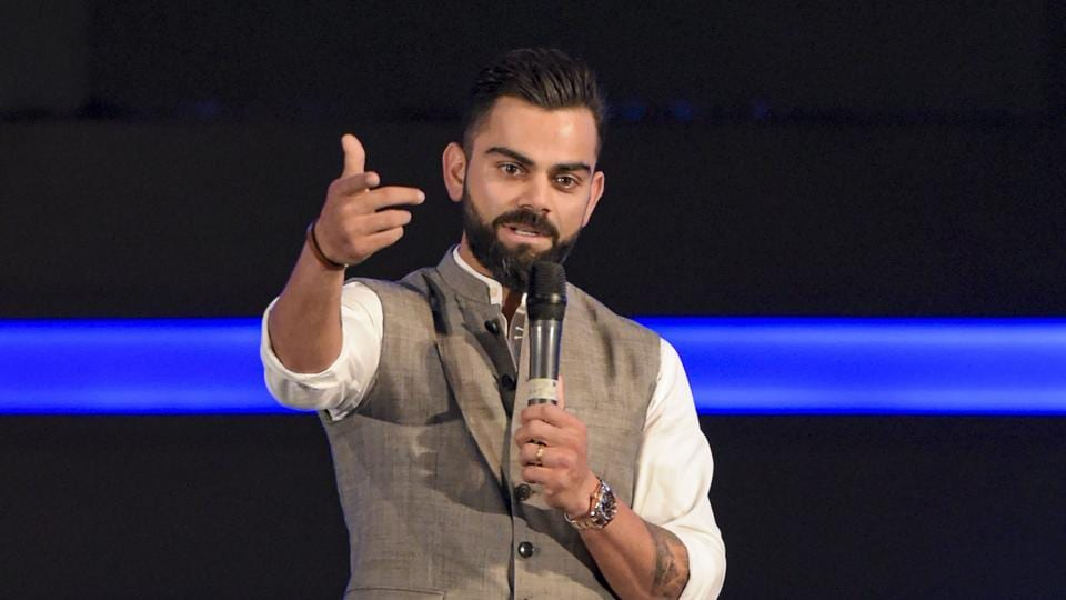 New Delhi: Indian cricket team Captain Virat Kohli addresses after the Delhi and District Cricket Association (DDCA) unveiled a new pavilion stand bearing his name.