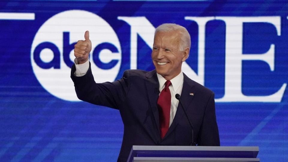 Former Vice President Joe Biden gives a thumbs up at the 2020 Democratic U.S. presidential debate in Houston, Texas.