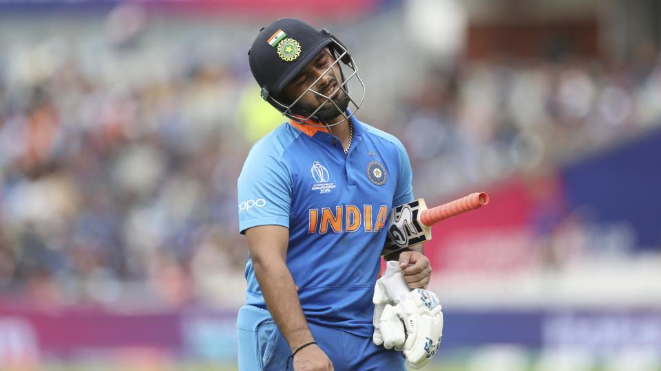 Rishabh Pant reacts losing his wicket at the 2019 World Cup.