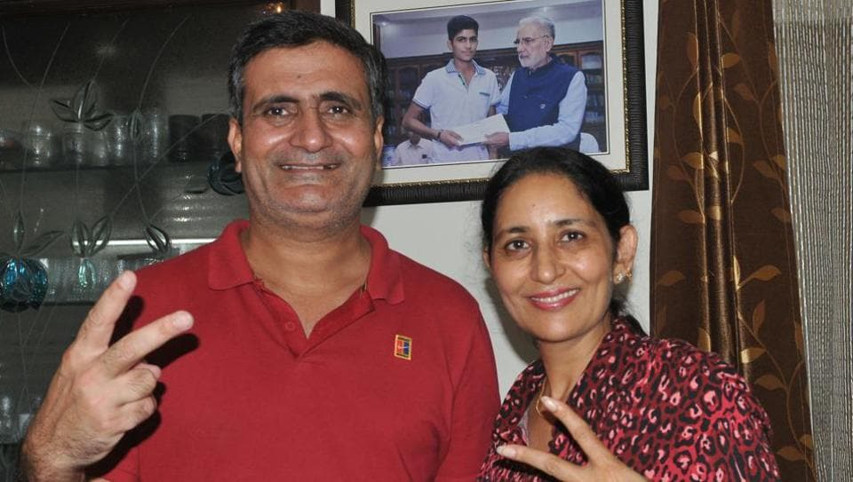 Lakhwinder Singh and Keerat Gill, the proud parents of Shubman Gill, after his selectionin the Indian Test Team at their Mohali residence on Thursday.