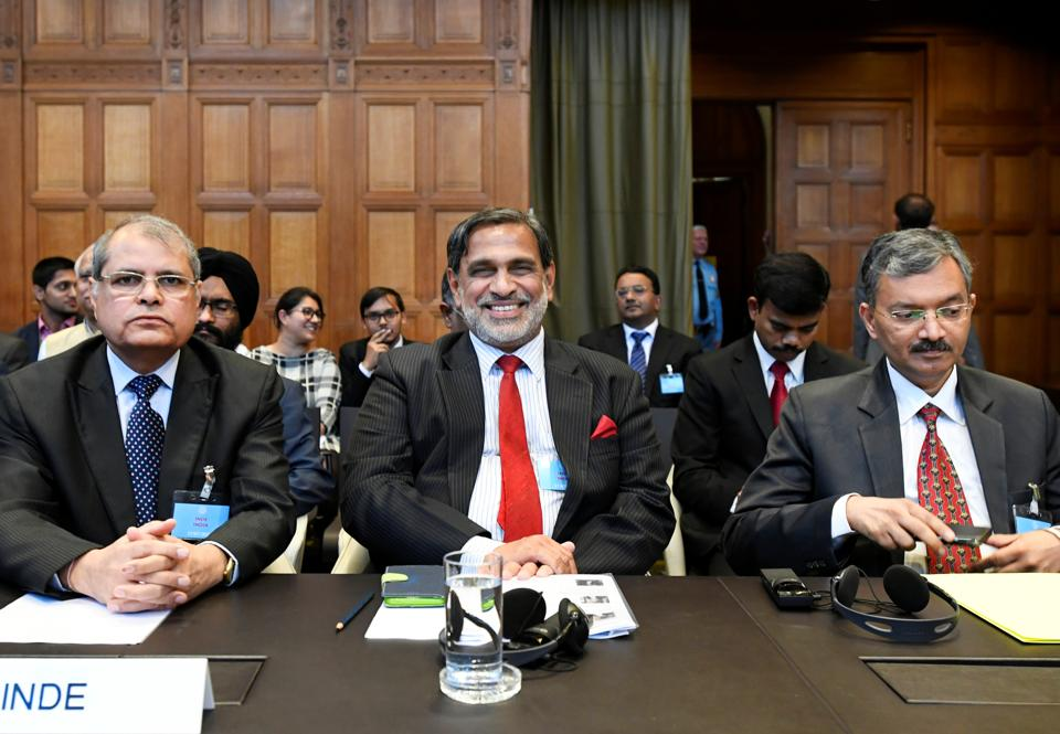 Vishnu Dutt Sharma, additional secretary, Ministry of External Affairs, Venu Rajamony, Ambassador of India to the Netherlands and Deepak Mittal, joint secretary of Indian Ministry of External Affairs are seen at the International Court of Justice before the issue of a verdict in the case of Indian national Kulbhushan Jadhav, who was sentenced to death by Pakistan in 2017, in The Hague, Netherlands July 17, 2019.