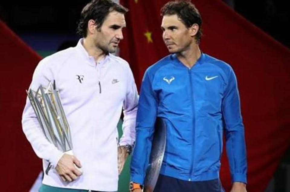 Roger Federer of Switzerland with Rafael Nadal in Shanghai
