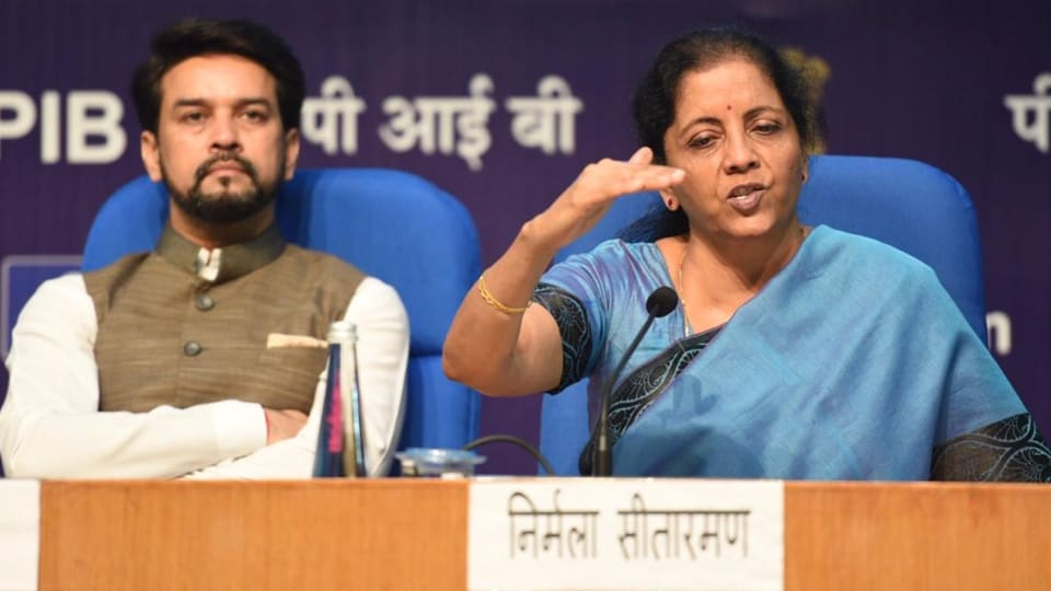 Nirmala Sitharaman addressing a press conference inDelhi on Sept 14, 2019. (Photo  Photo Raj K Raj/ HT)