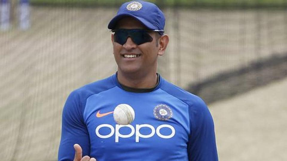MS Dhoni during a practice session.