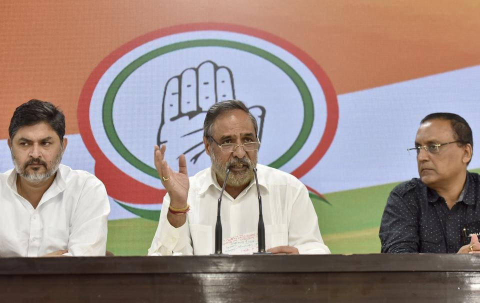 Congress Senior Spokesperson Anand Sharma (C) speaks to media during a press conference, at AICC Headquarters, in New Delhi, India, on Saturday, September 14, 2019.