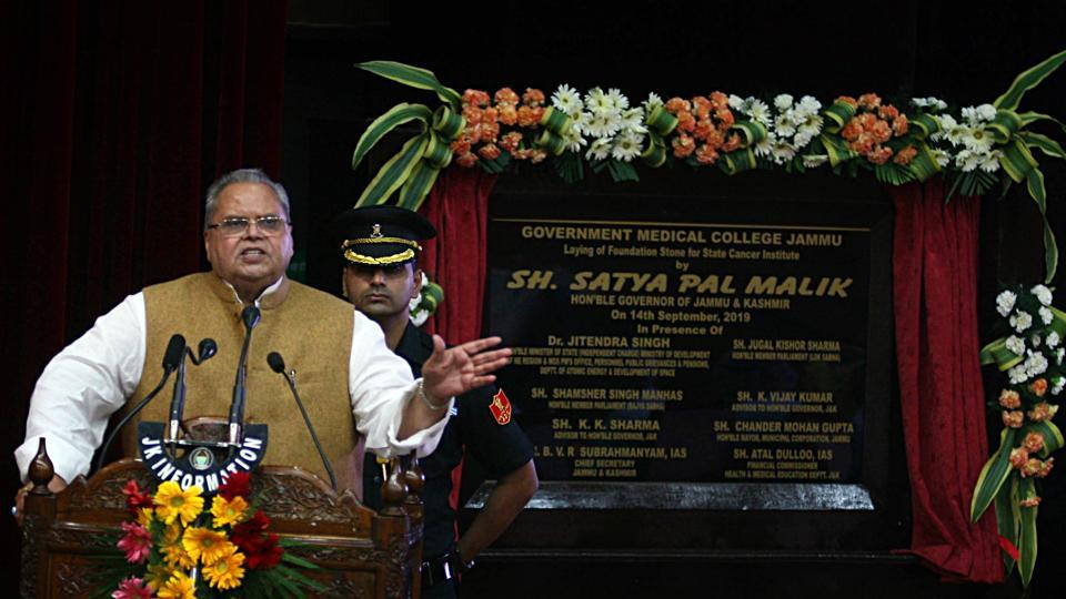 Governor of Jammu and Kashmir Satya Pal Malik addresses after laying the foundation stone of Cancer Hospital in Jammu on Saturday. (ANI Photo)