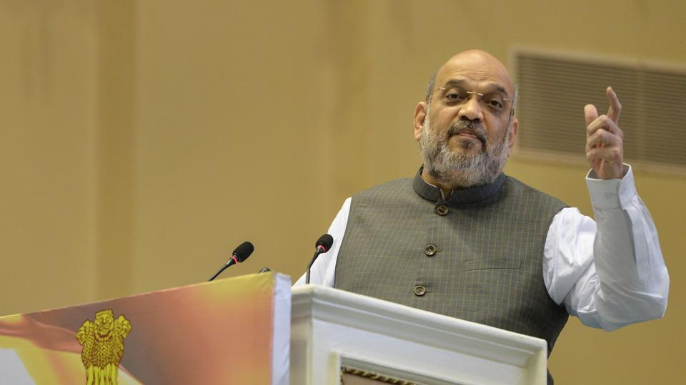Home Minister Amit Shah addresses during the 'Hindi Divas Samaroh' in New Delhi, Saturday, Sept. 14, 2019. Hindi Divas is observed to mark the decision of the Constituent Assembly to extend official language status to Hindi on this day in 1949
