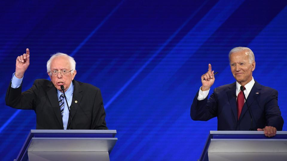 Democratic presidential hopefuls Senator of Vermont Bernie Sanders (R) and Former Vice President Joe Biden (R) participate during the third Democratic primary debate of the 2020 presidential campaign season hosted by ABC News in partnership with Univision at Texas Southern University in Houston.
