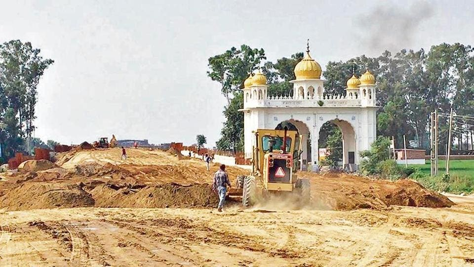 Construction work on at the Dera Baba Nanak district in Gurdaspur on August 26.