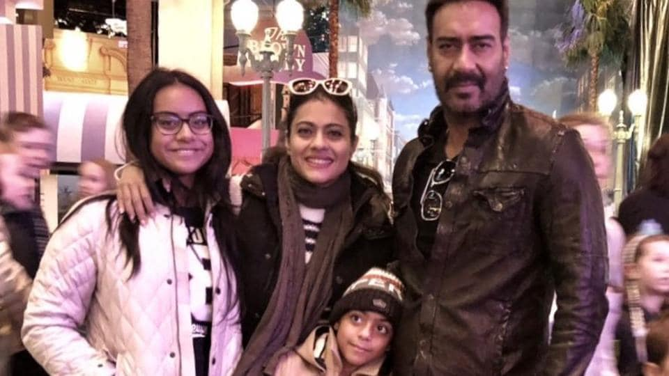 Ajay Devgn and Kajol with their kids Nysa and Yug.