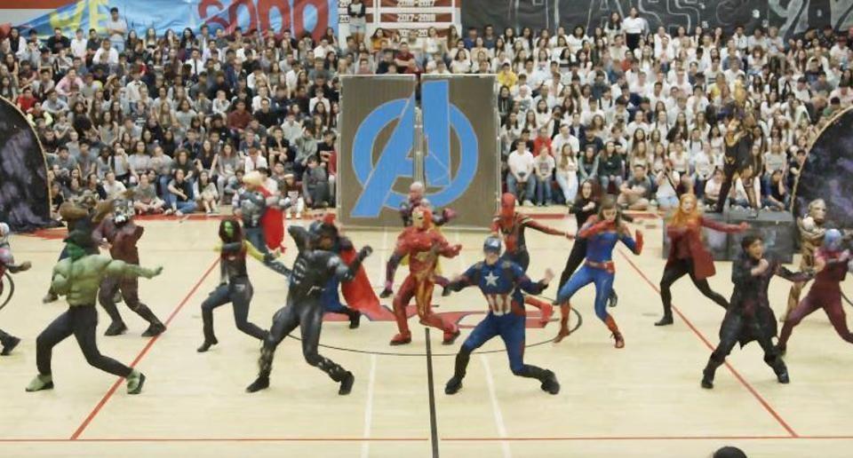 High school kids recreate Avengers Endgame's fight scene.
