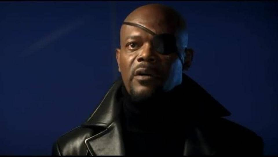 Samuel L Jackson as Nick Fury in a still from the Iron Man post credits deleted scene.