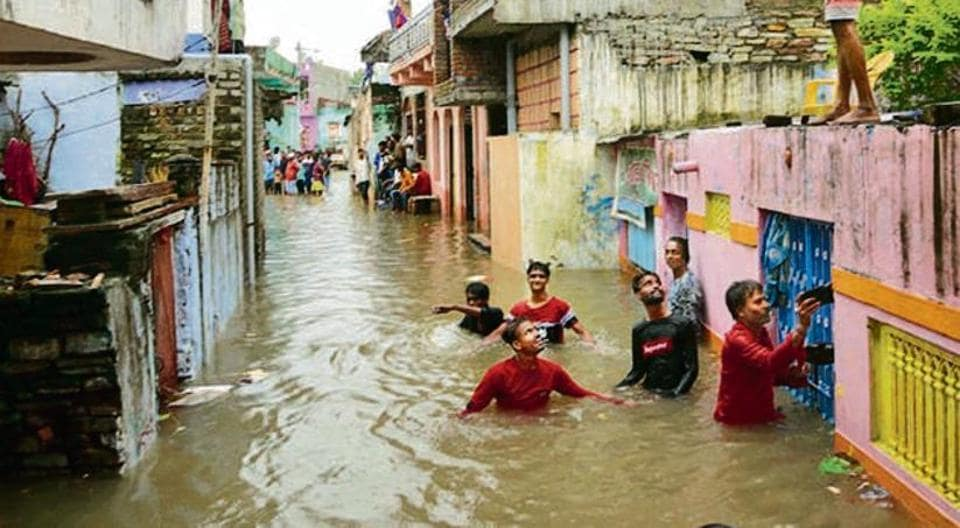 Several areas in the state, including Kota, are inundated due to heavy rainfall.