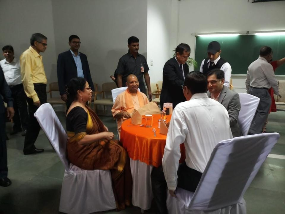 UP CM Yogi Adityanath, his ministers and bureaucrats participating in 'Manthan' at IIM-L on Sunday.