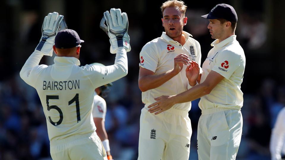 England's Stuart Broad celebrates taking the wicket of Australia's Marcus Harris.