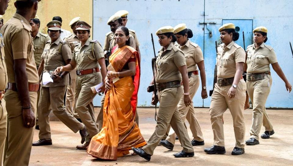 Nalini Sriharan convicted in the assassination case of former prime minister Rajiv Gandhi outside the Vellore Central Prison.