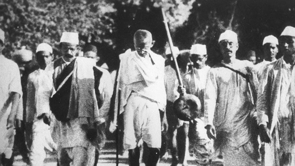Scenes during Mahatma Gandhi's famous Salt March. This march on foot to the sea coast at Dandi, on the eve of the Salt Satyagraha, 1930.