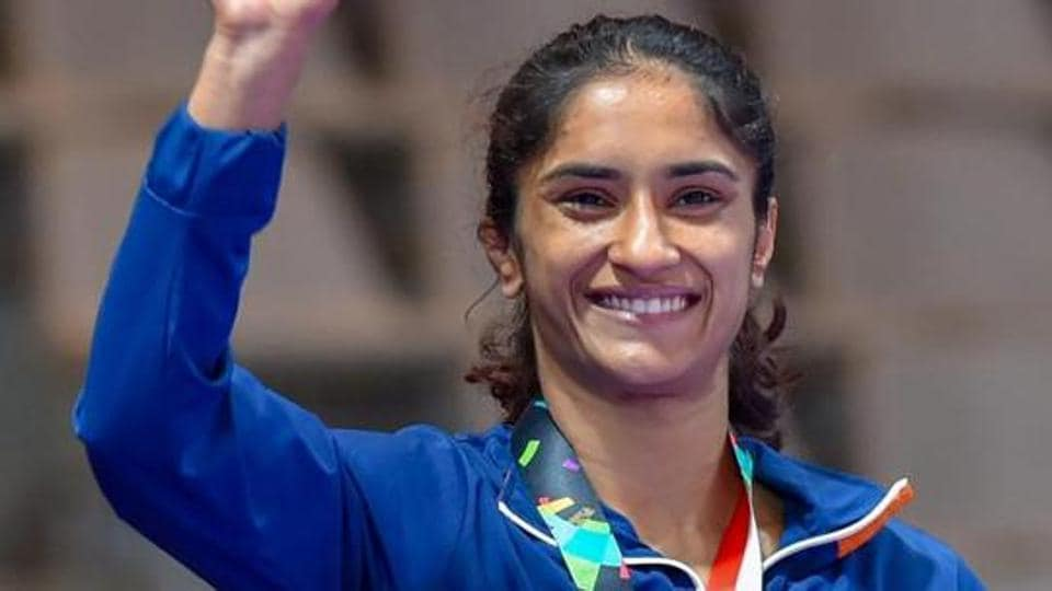 India's Vinesh Phogat poses during the medal presentation ceremony.