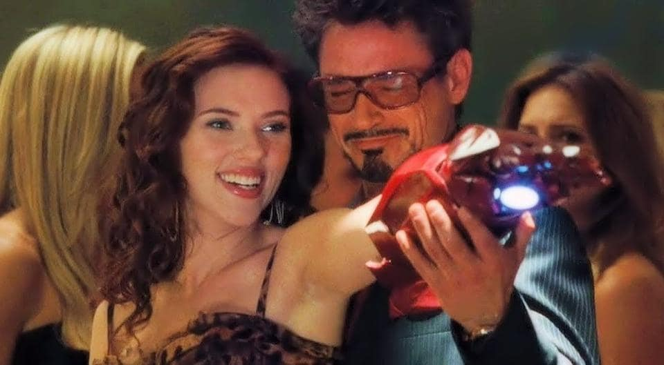 Robert Downey Jr and Scarlett Johansson in a still from Iron Man 2.