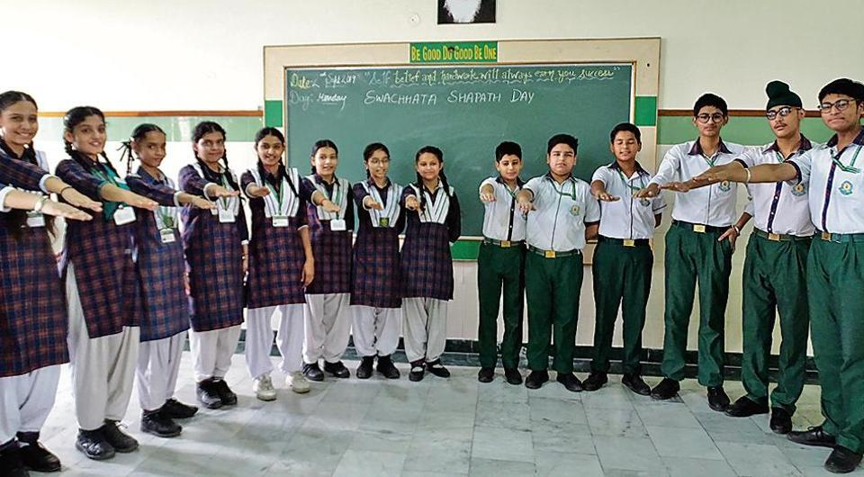 Green Land Convent School, Dugri, organised a cleanliness drive on Sunday.