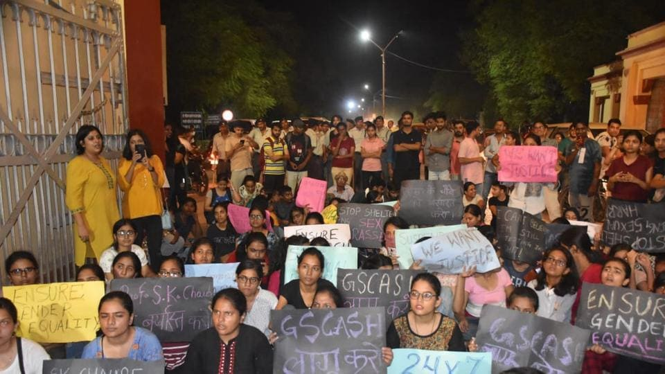 The protesting students ended their stir on Sunday and submitted an eight-point memorandum to the university administration, demanding the professor's expulsion and the registration of a first information report (FIR) against him.