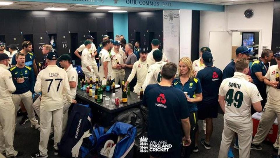 England, Australia players combine after series was shared