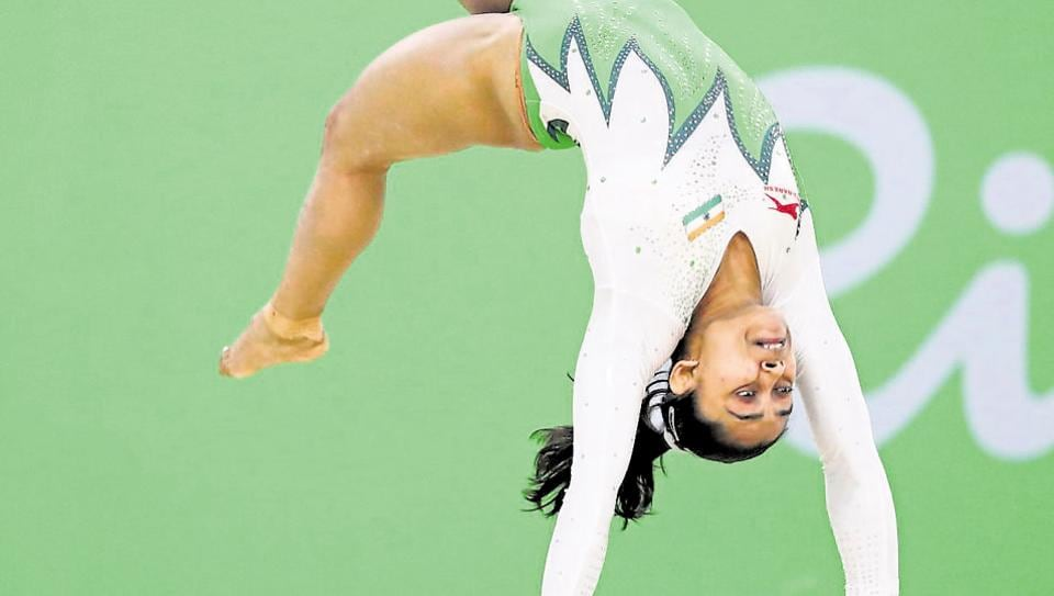 Dipa Karmakar (IND) of India competes on the floor exercise during the women's qualifications