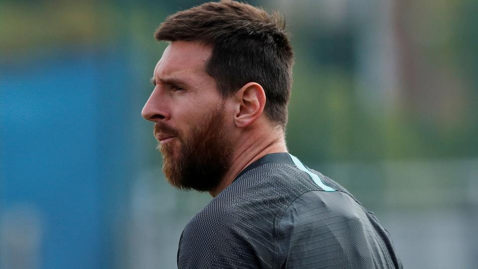 Barcelona's Lionel Messi during training.