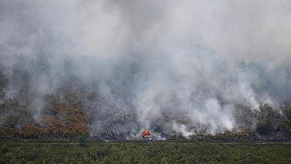 A wooden hut burns due to a forest fire in Palangka Raya, Central Kalimantan province, Indonesia.