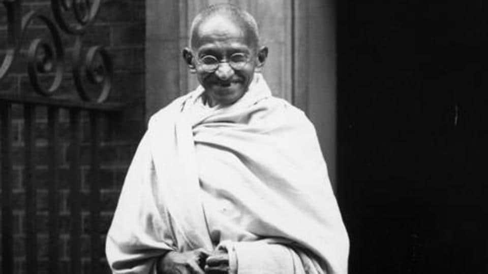 Archival photo of Mahatma Gandhi , outside 10 Downing Street, London, 3rd November, 1931.