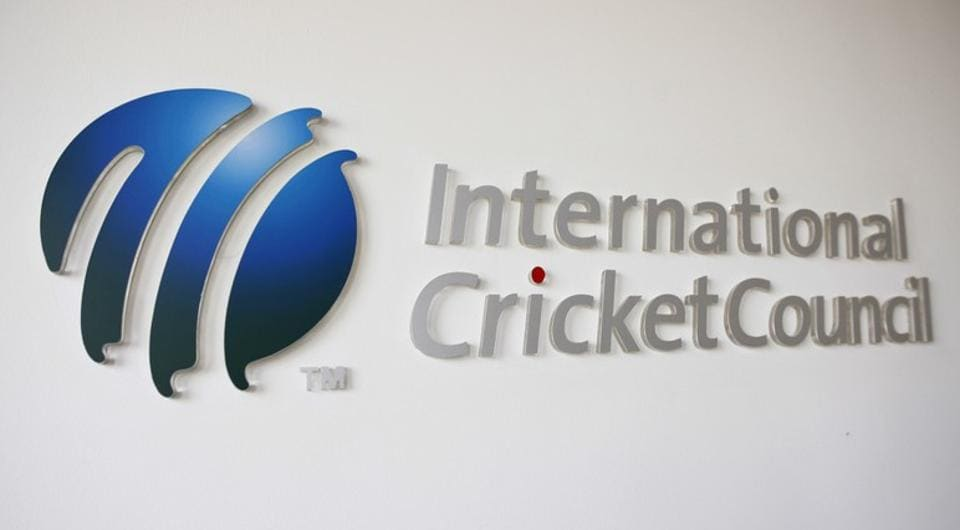 The International Cricket Council (ICC) logo at the ICC headquarters
