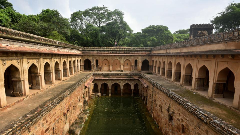 A view of the ancient water conservation system-- Rajon Ki Baoli, at Mehrauli, in New Delhi.