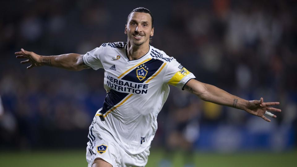 LA Galaxy forward Zlatan Ibrahimovic celebrates a goal against Sporting Kansas City at StubHub Center.