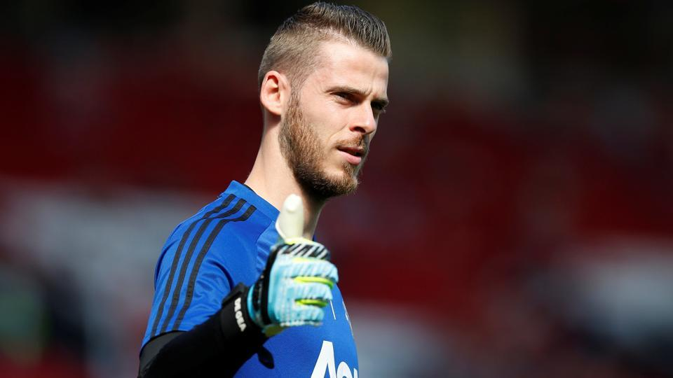 Manchester United's David de Gea during the warm up before the match.