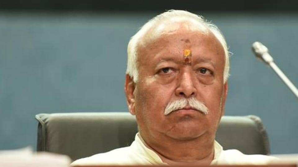 RSS chief Mohan Bhagwat during a summit on Shiksha Mein Bhartiyeta (Indian Nationalism in Edication) at Pusa Institute in New Delhi.
