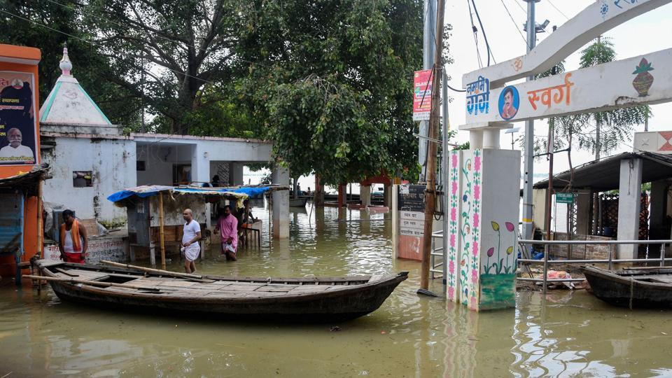 A view of buildings submerged in flood waters following heavy monsoon rainfall, at Teliyarganj area in Prayagraj, Uttar Pradesh, Sunday, Sept. 15, 2019.