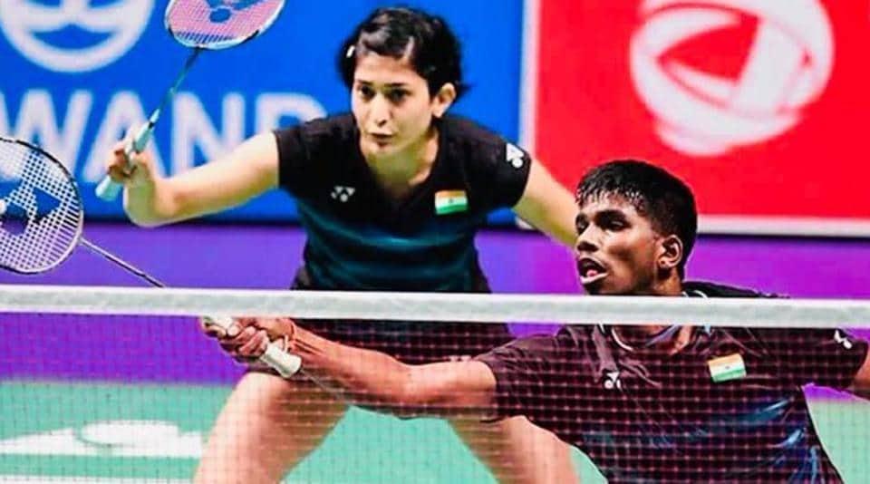 Satwiksairaj Rankireddy and Ashwini Ponnappa in action.
