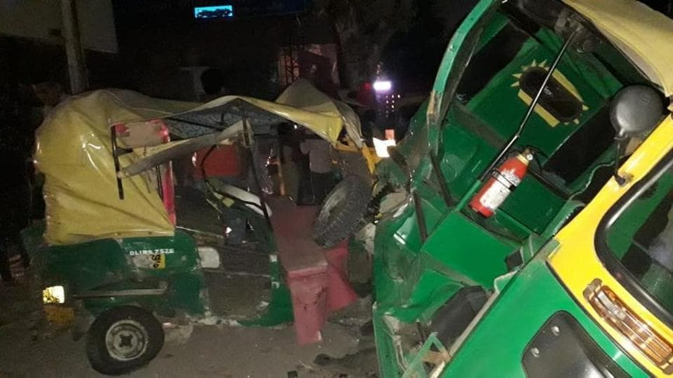 A speeding car, allegedly being driven by a 23-year-old student, rammed the autos near a bus stand in outer Delhi's Swaroop Nagar leading to two deaths.