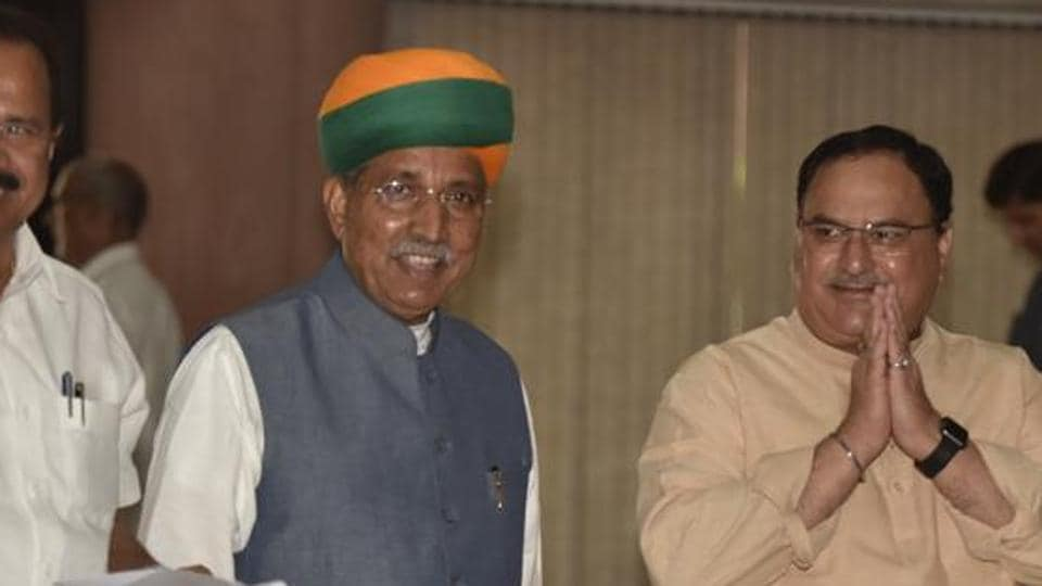 Minister of Chemicals and Fertilizers DV Sadananda Gowda, Minister of State in the Ministry of Parliamentary Affairs Arjun Ram Meghwal and working president of the Bharatiya Janta Party (BJP) Jagat Prakash Nadda arrive to attend the BJP parliamentary party meeting.