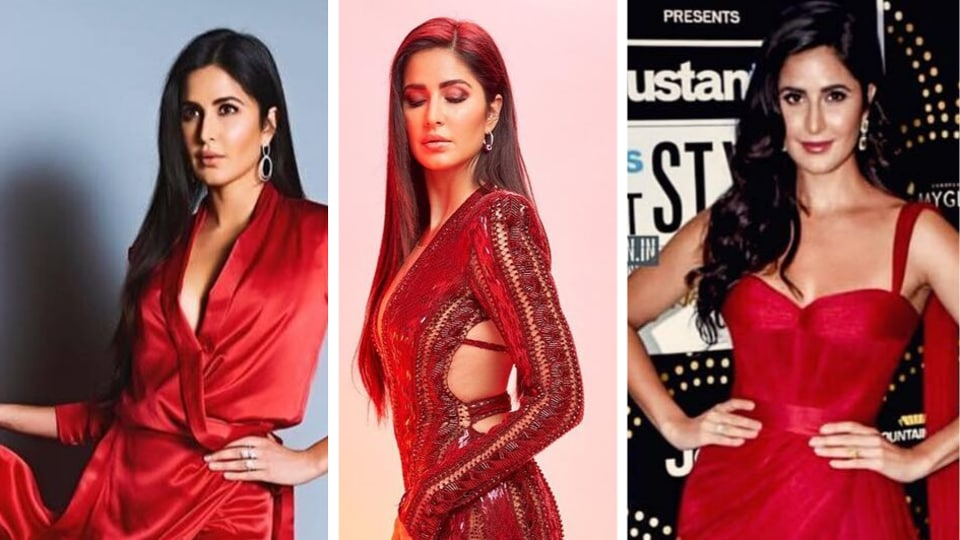 Katrina Kaif was a vision in a glistening bordeaux red, sequinned gown with plunging neckline at the 2019 IIFA Rocks red carpet