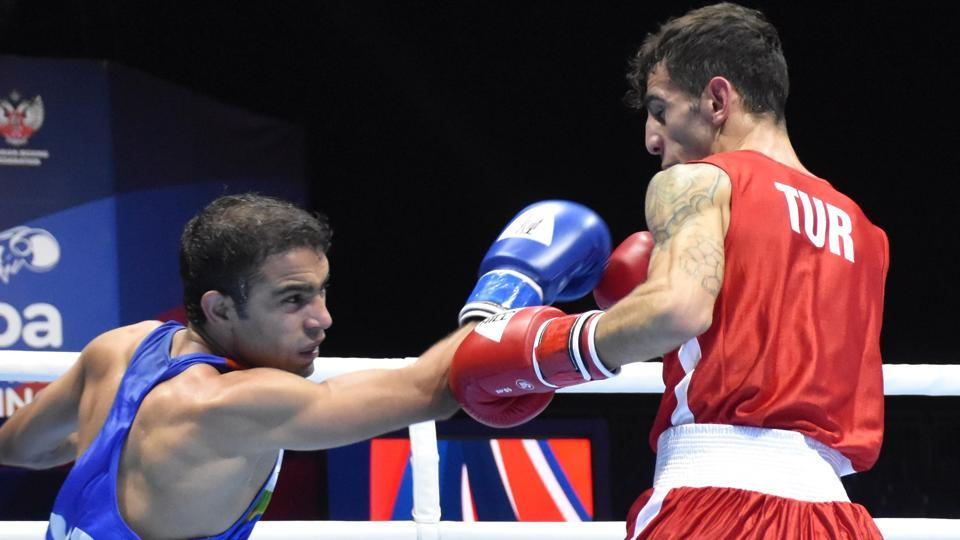 Amit Panghal in action during the World Boxing Championship.