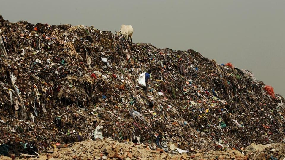 Mountains of plastic waste seen at Ghazipur landfill site, in New Delhi.