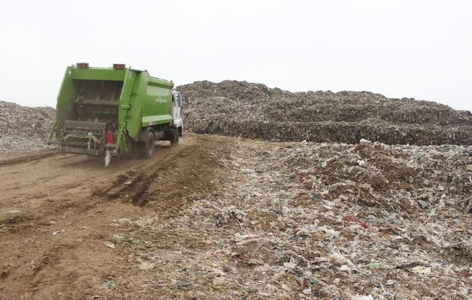 The Bandhwari landfill site in June 2018. In April this year, the MCG had requested the state government to stop dumping garbage from Faridabad at Bandhwari.