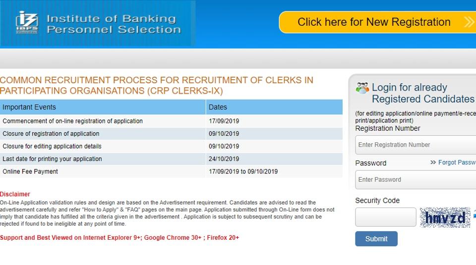 IBPS Clerk 2019 registration begins