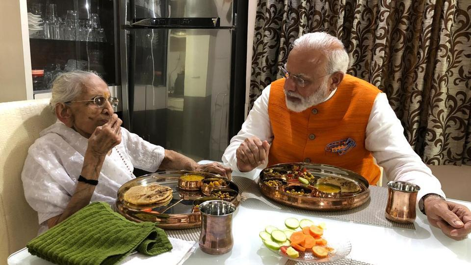 PM Modi meets his mother Heeraben Modi (BJP/Twitter)