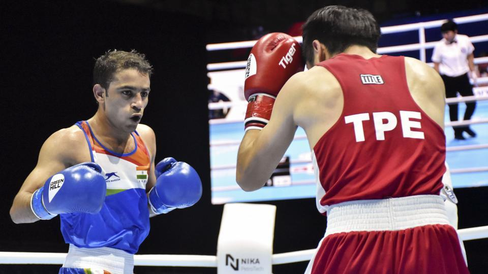 Asian Games gold medallist Amit Panghal (52kg) in action.