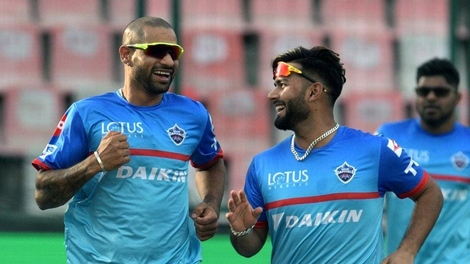 Shikhar Dhawan and Rishabh Pant in a practice session during IPL 2019.