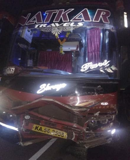 The private bus which rammed into the car in which the city doctor was travelling, at Pune-Mumbai expressway on Monday.