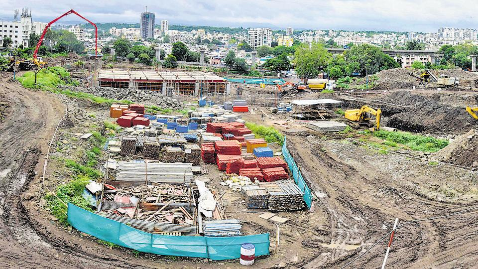 Metro work in progress at the Vanaz depot as of September 16. Maha-Metro has planned to start metro trials on priority basis on two sections from Pimpri to Dapodi and Vanaz to Garware college.