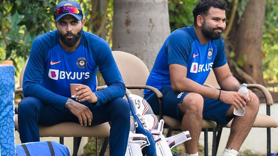 Indian cricketers Rohit Sharma (R) and Ravindra Jadeja during a practice session.